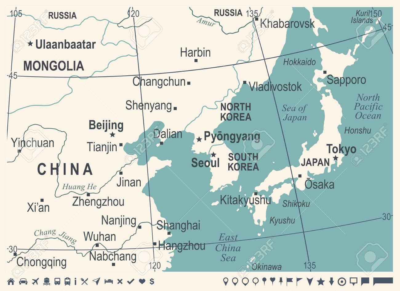 North Korea South Korea Japan China Russia Mongolia Map - Vintage ...