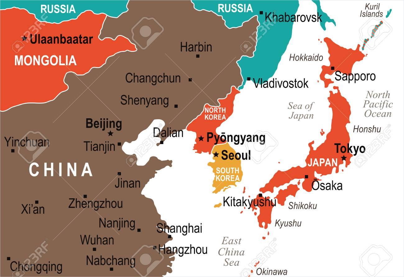 Carte Chine Mongolie.Coree Du Nord Coree Du Sud Japon Chine Russie Mongolie Carte Detaillee De L Illustration Vectorielle