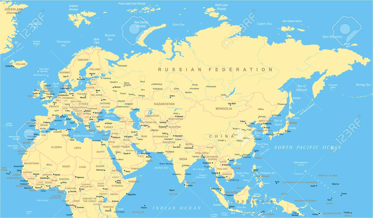 Eurasia Europa Russia China India Indonesia Thailand Africa Map
