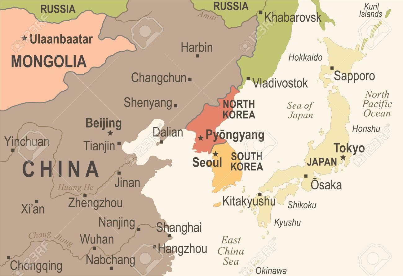 Corea del norte corea del sur japn china rusia mapa de mongolia corea del norte corea del sur japn china rusia mapa de mongolia vintage detallada ilustracin gumiabroncs Gallery