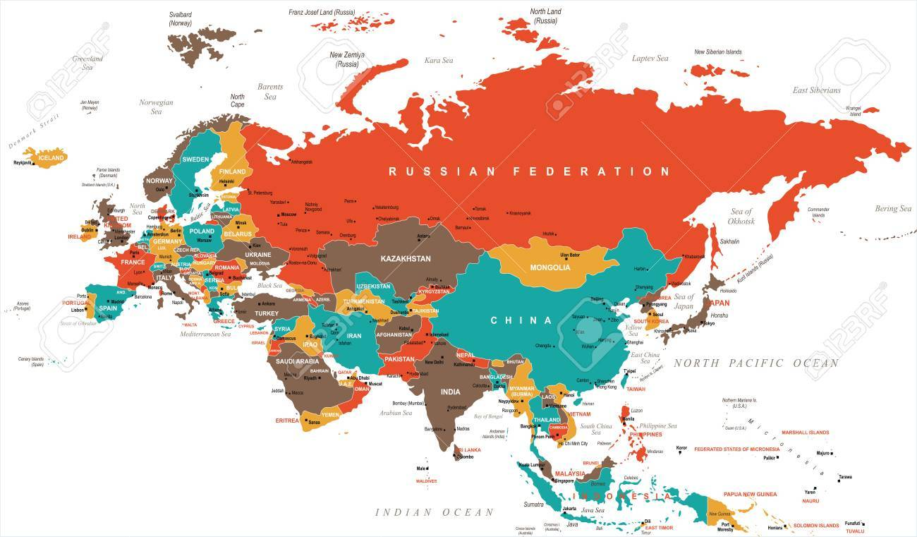 Indonesia Thailand Map.Eurasia Europa Russia China India Indonesia Thailand Map Detailed