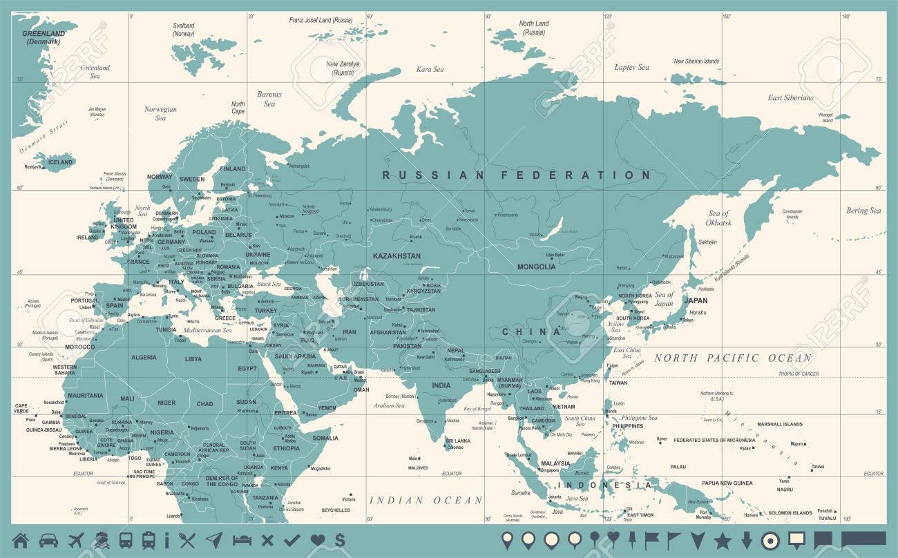 Indonesia Thailand Map.Eurasia Europa Russia China India Indonesia Thailand Africa Map