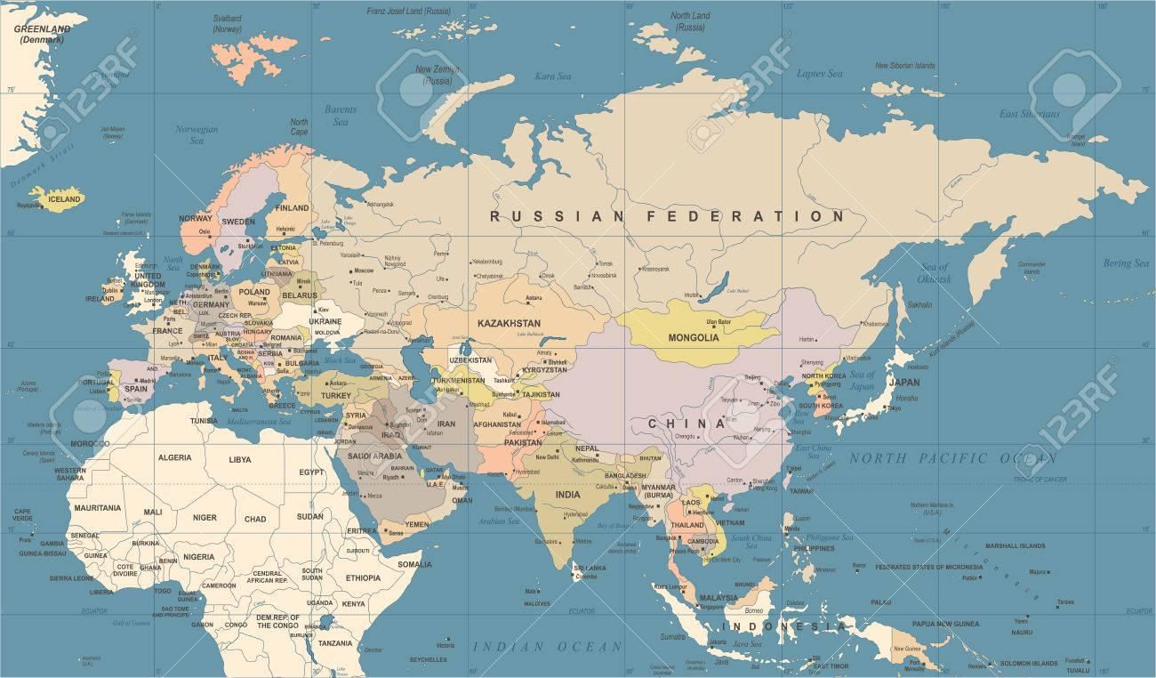 Thailande Et Indonesie Carte.Eurasie Europe Russie Chine Inde Indonesie Thailande Carte Detaillee De L Illustration Vectorielle