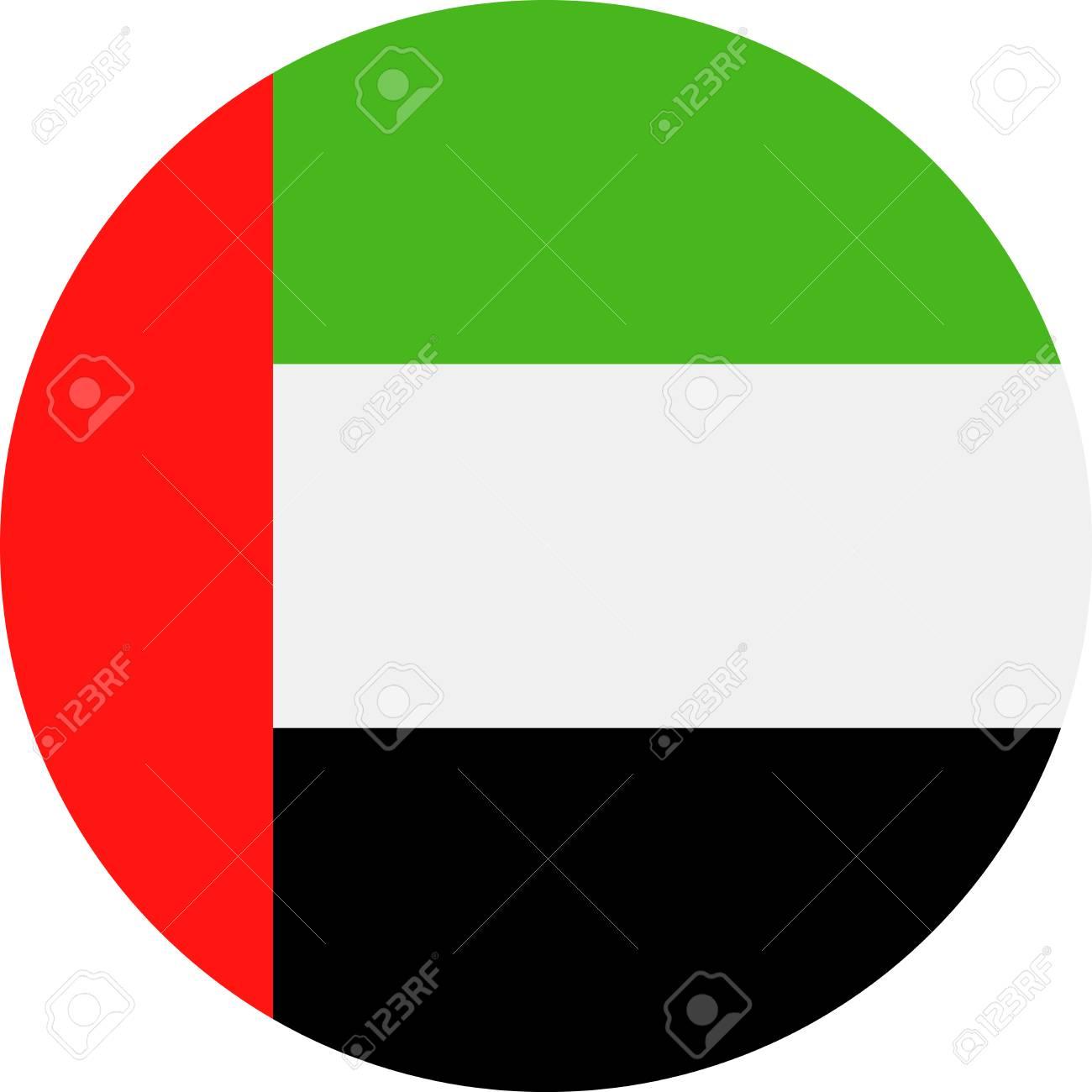 united arab emirates flag vector round flat icon illustration