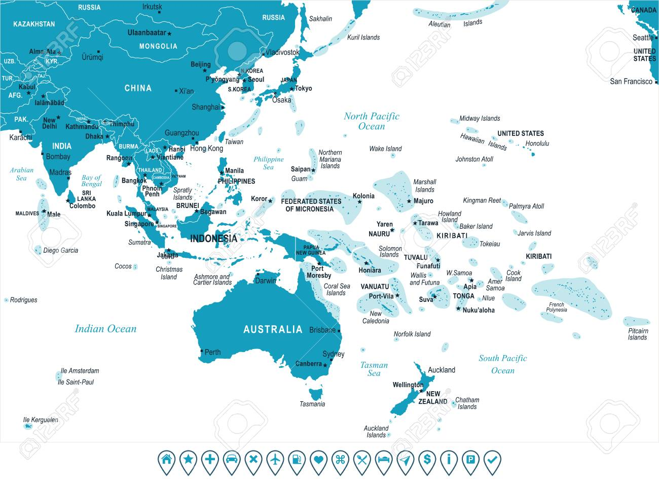 Carte Asie Oceanie.Asie Et L 39 Indonesie Carte D 39 Oceanie Detaillee Illustration