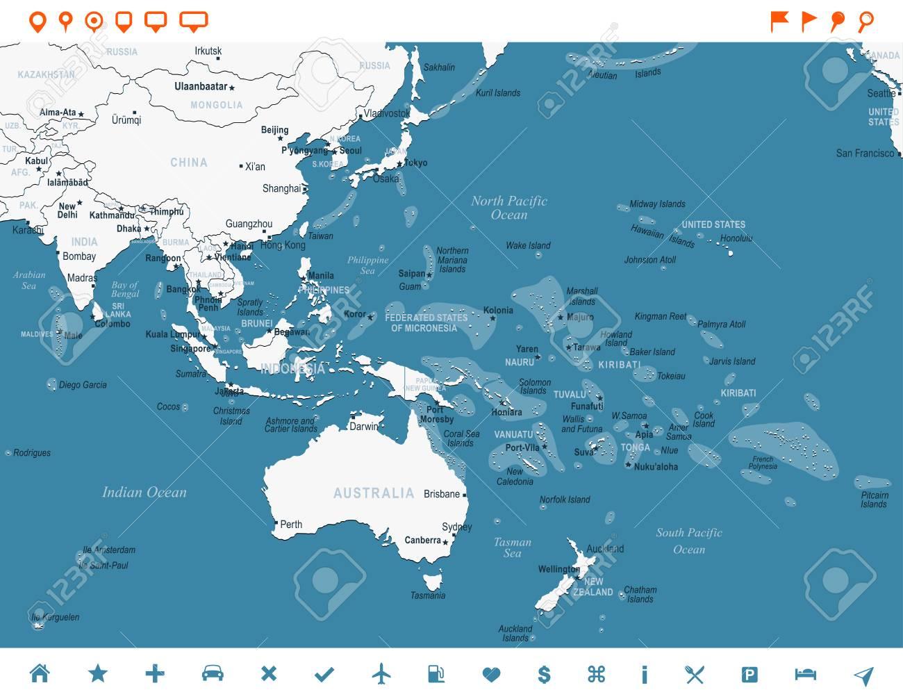 Carte Asie Indonesie.Asie Et L 39 Indonesie Carte D 39 Oceanie Detaillee Illustration