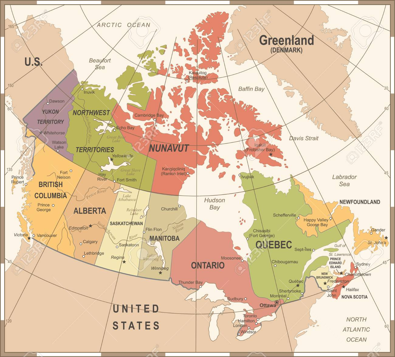 carte du canada détaillée Carte Du Canada   Vintage Vector Illustration Détaillée Clip Art