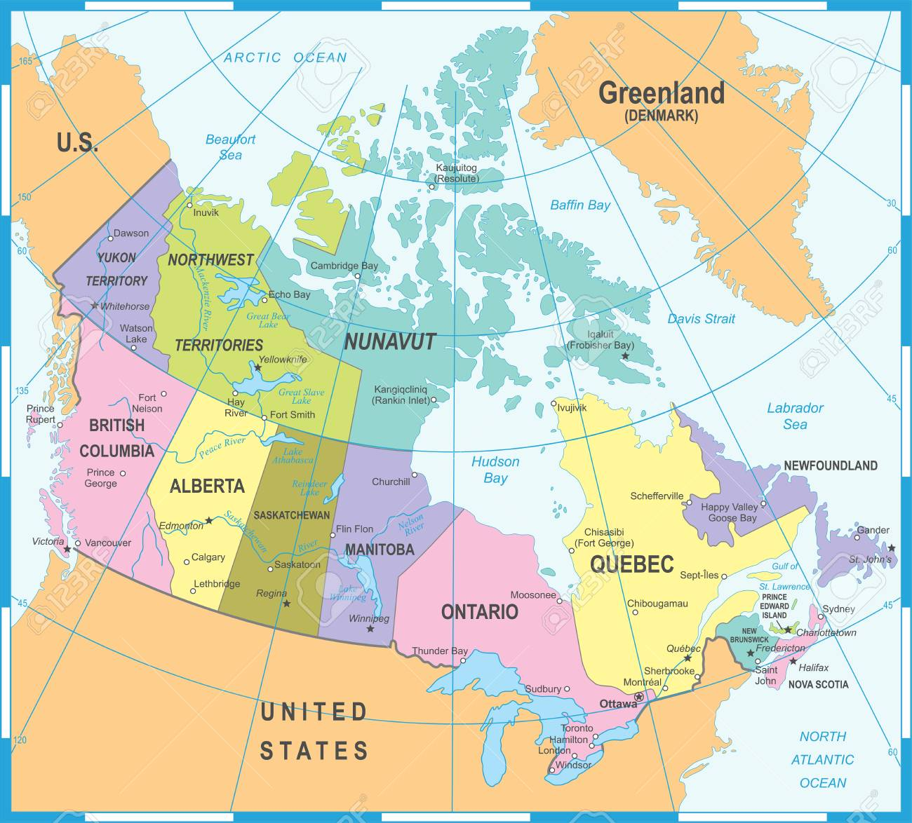 Canada Map Detailed Vector Illustration Royalty Free Cliparts