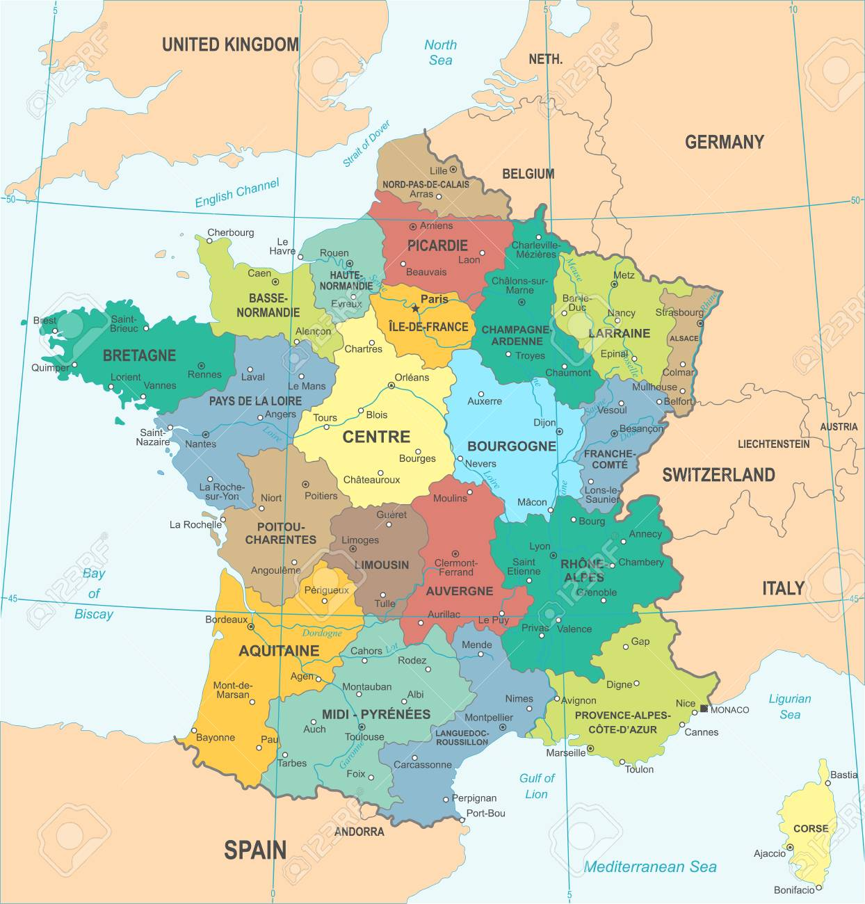 Map Of France Detailed.France Detailed Map Illustration