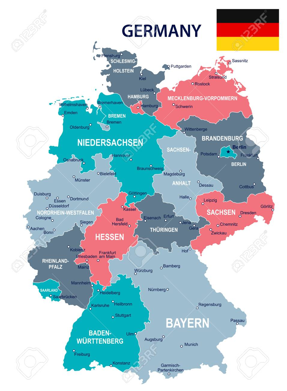 Germany Map And Flag Vector Illustration Royalty Free Cliparts
