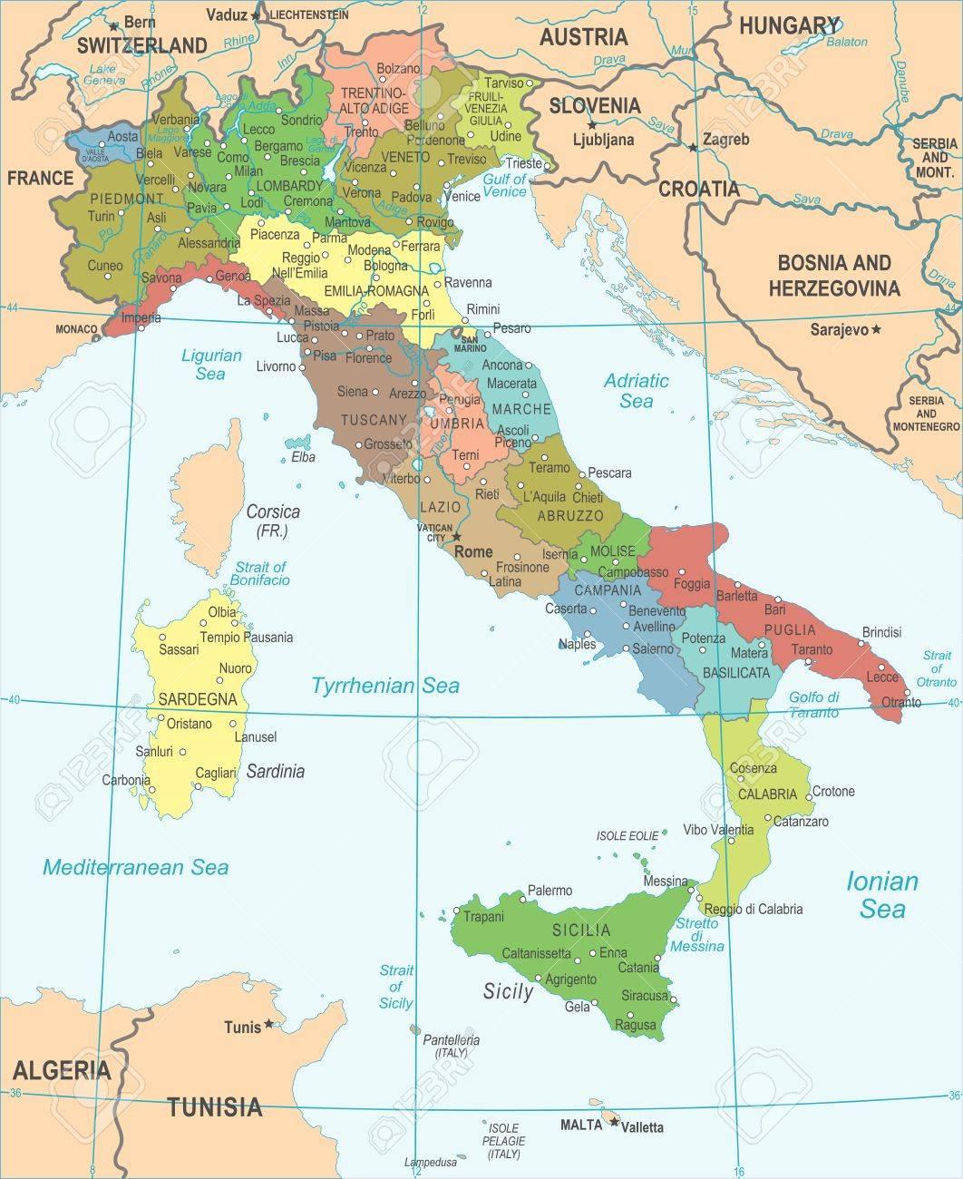 carte d italie détaillée Carte Italie   Détaillée Illustration Vectorielle Clip Art Libres