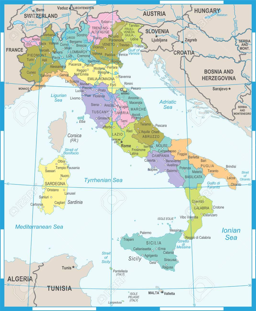 Carte Italie Detaillee Archives Voyages Cartes