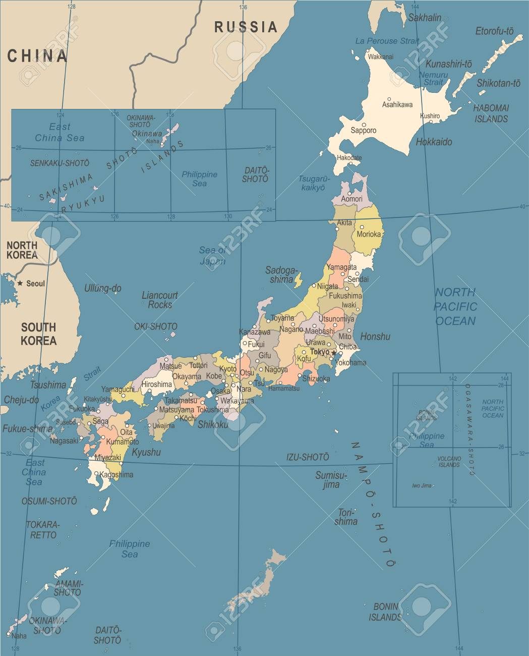 carte du japon détaillée Carte Du Japon   Vintage Vector Illustration Détaillée Clip Art