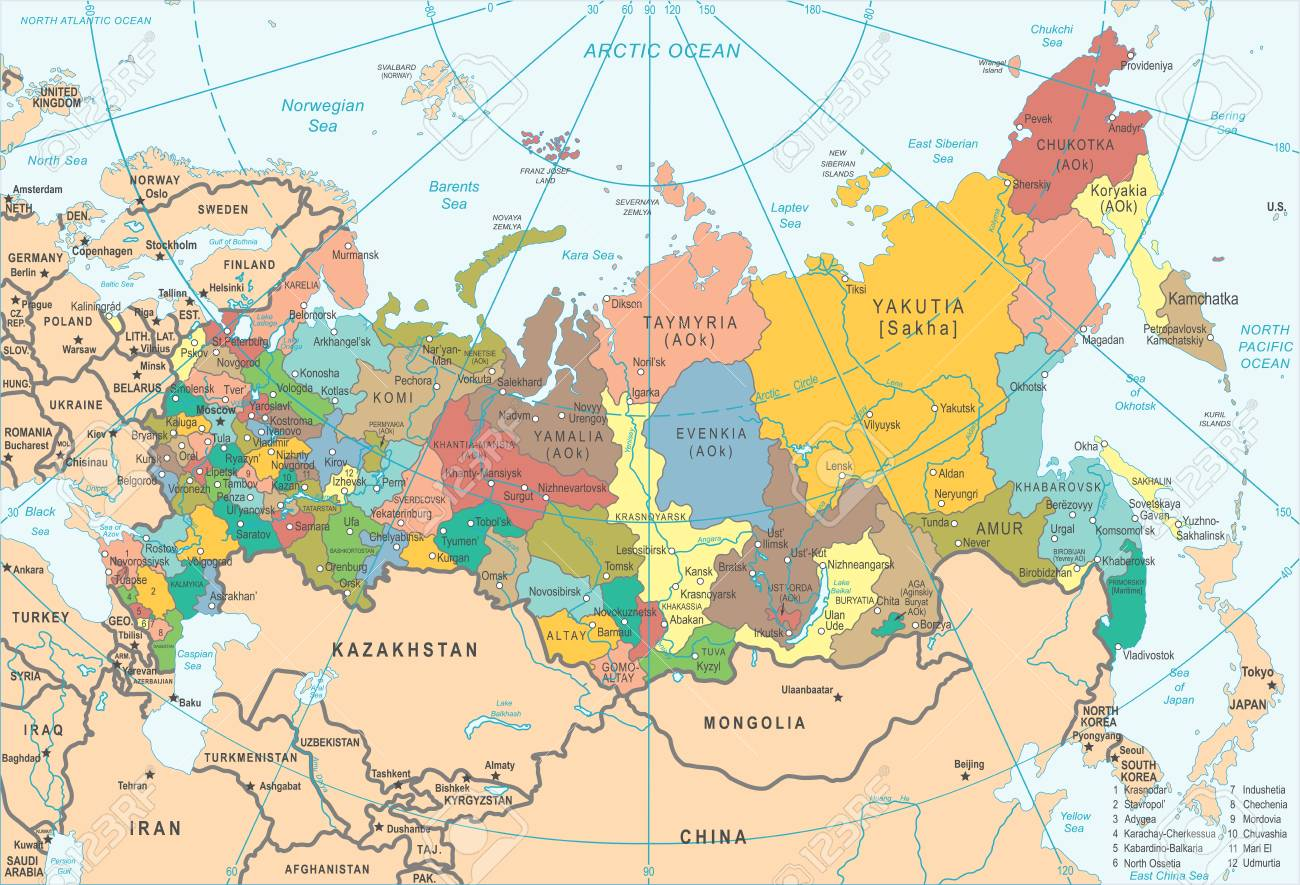 Karte Russland.Stock Photo