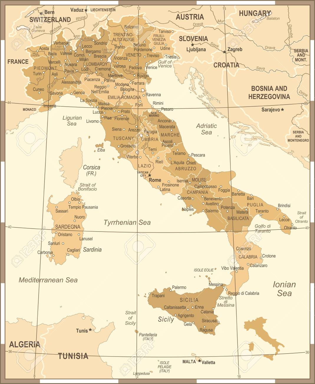 Italy Map Vintage Detailed Vector Illustration Royalty Free