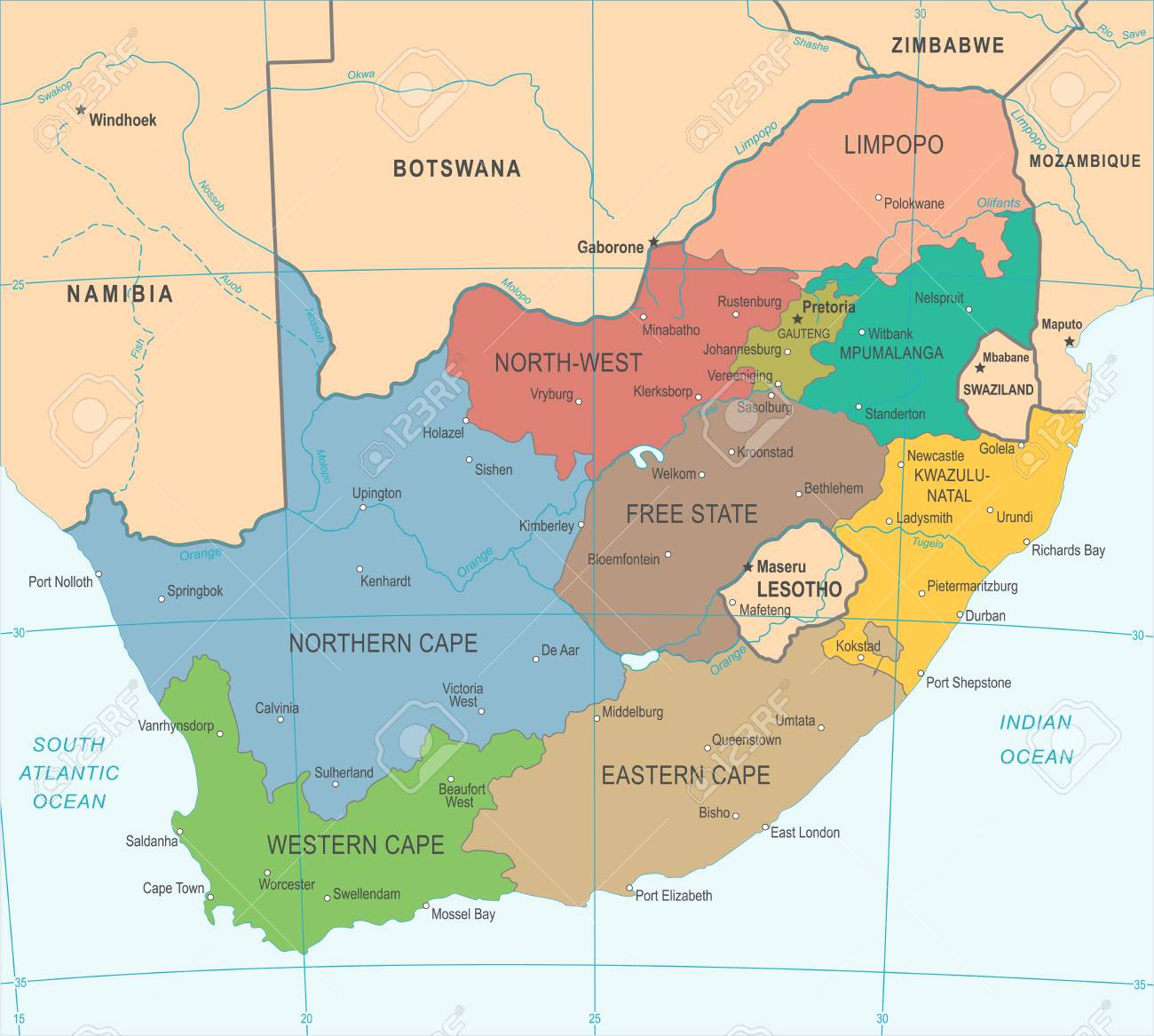 South Africa Map Detailed Vector Illustration Royalty Free