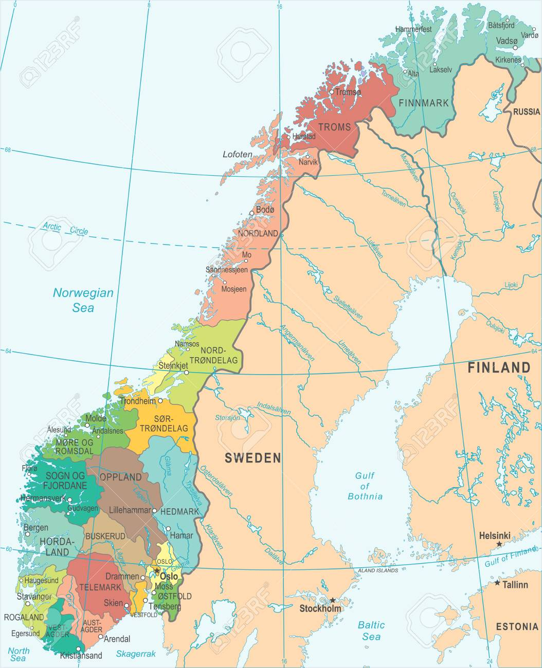 Norway Map - Detailed Vector Illustration