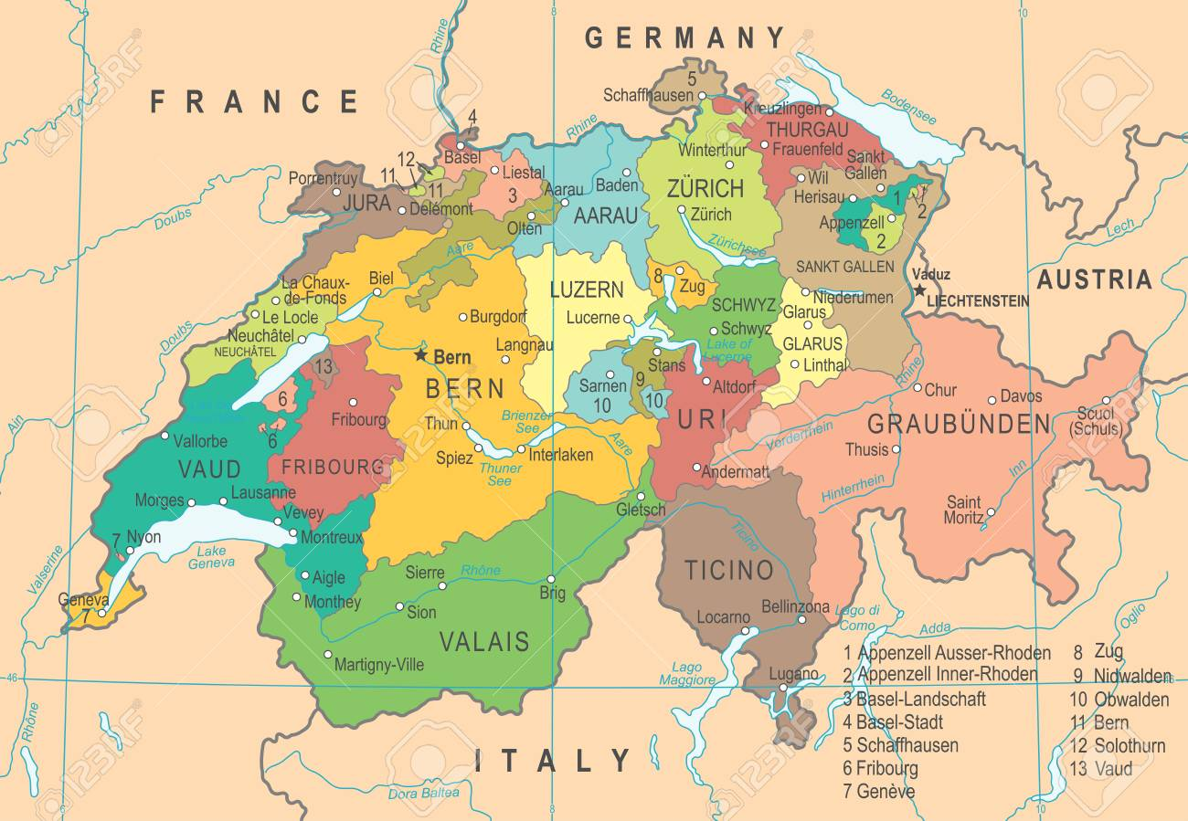 Switzerland Map Detailed Vector Illustration Royalty Free Cliparts