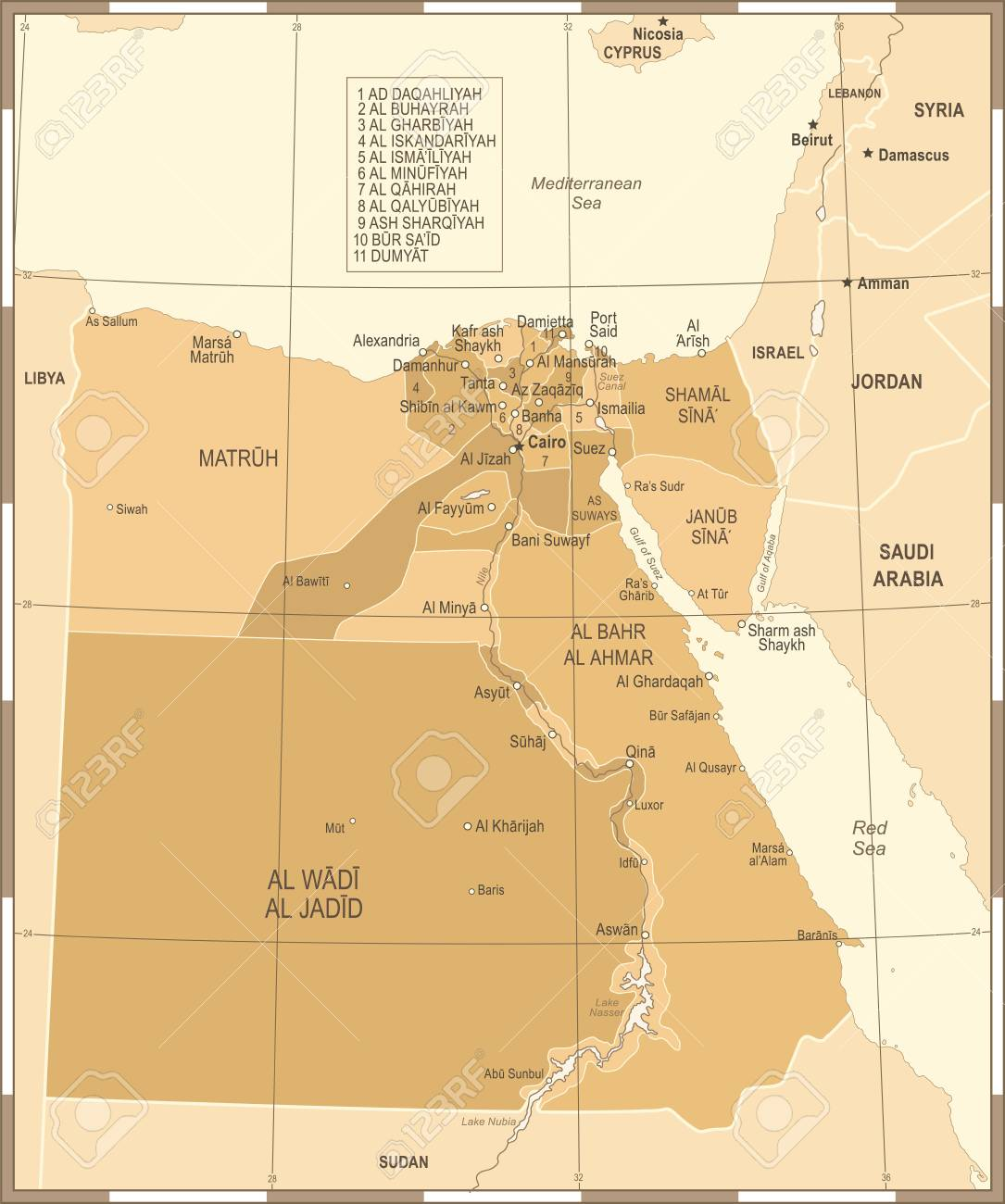Egypt Map Vintage High Detailed Vector Illustration Royalty Free