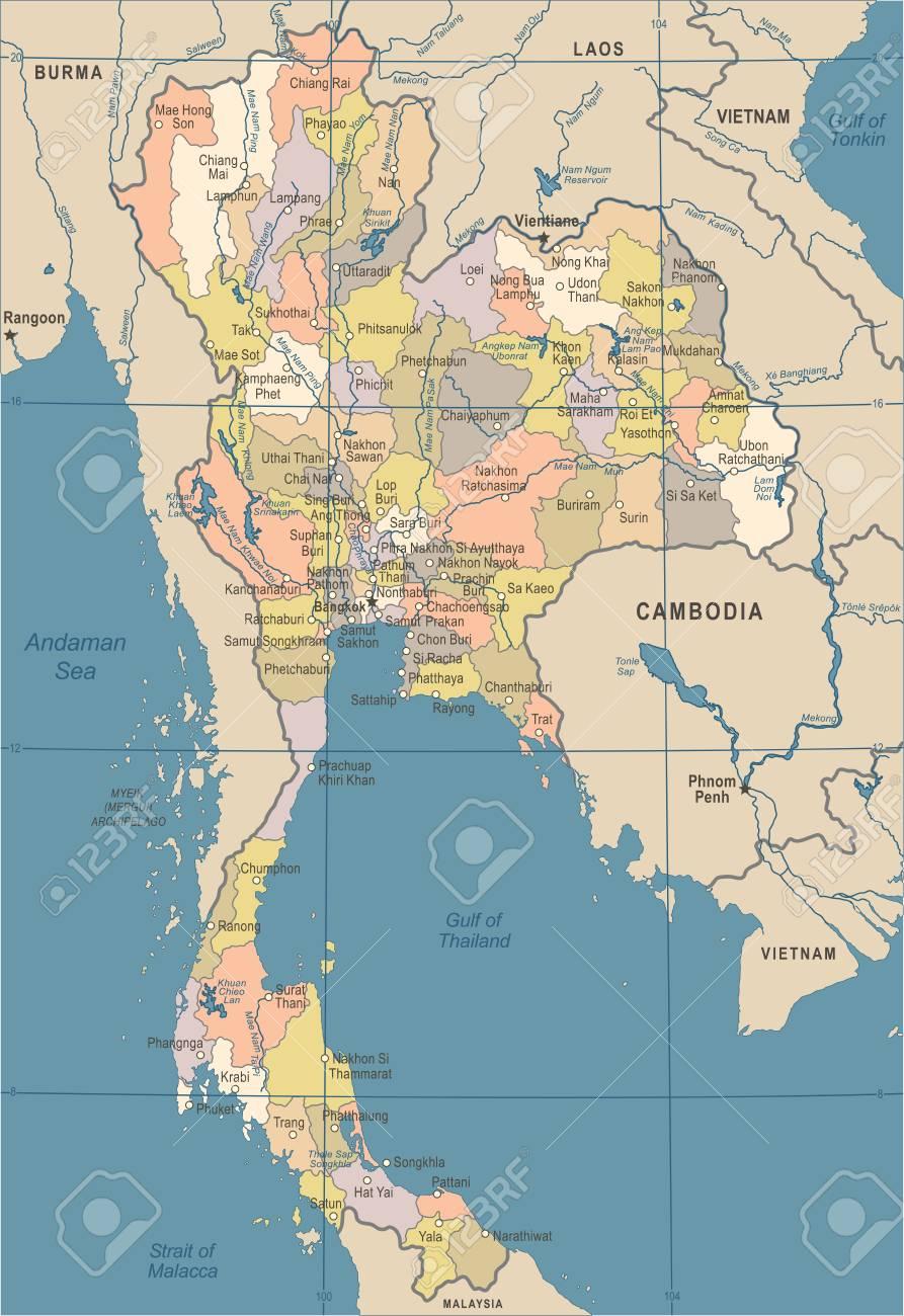 Carte Detaillee Thailande.Carte De La Thailande Vintage Vector Illustration Detaillee
