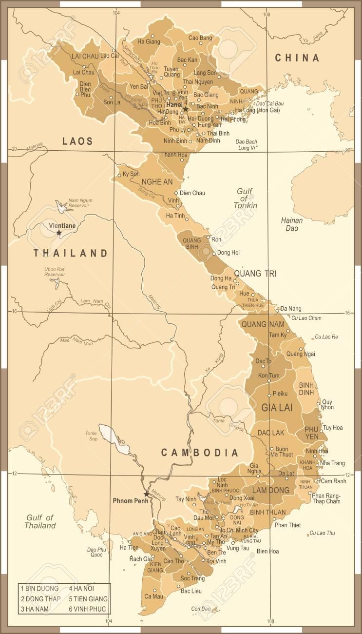 Dien Bien Phu Vietnam Map.Vietnam Map Vintage Detailed Vector Illustration Royalty Free
