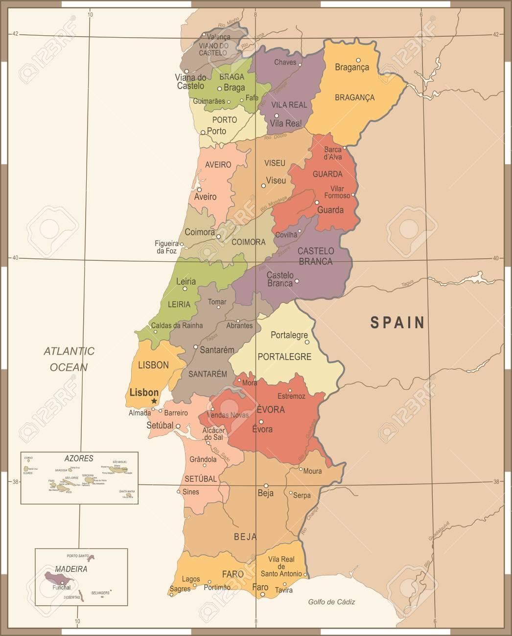Portugal Map Vintage High Detailed Vector Illustration Royalty