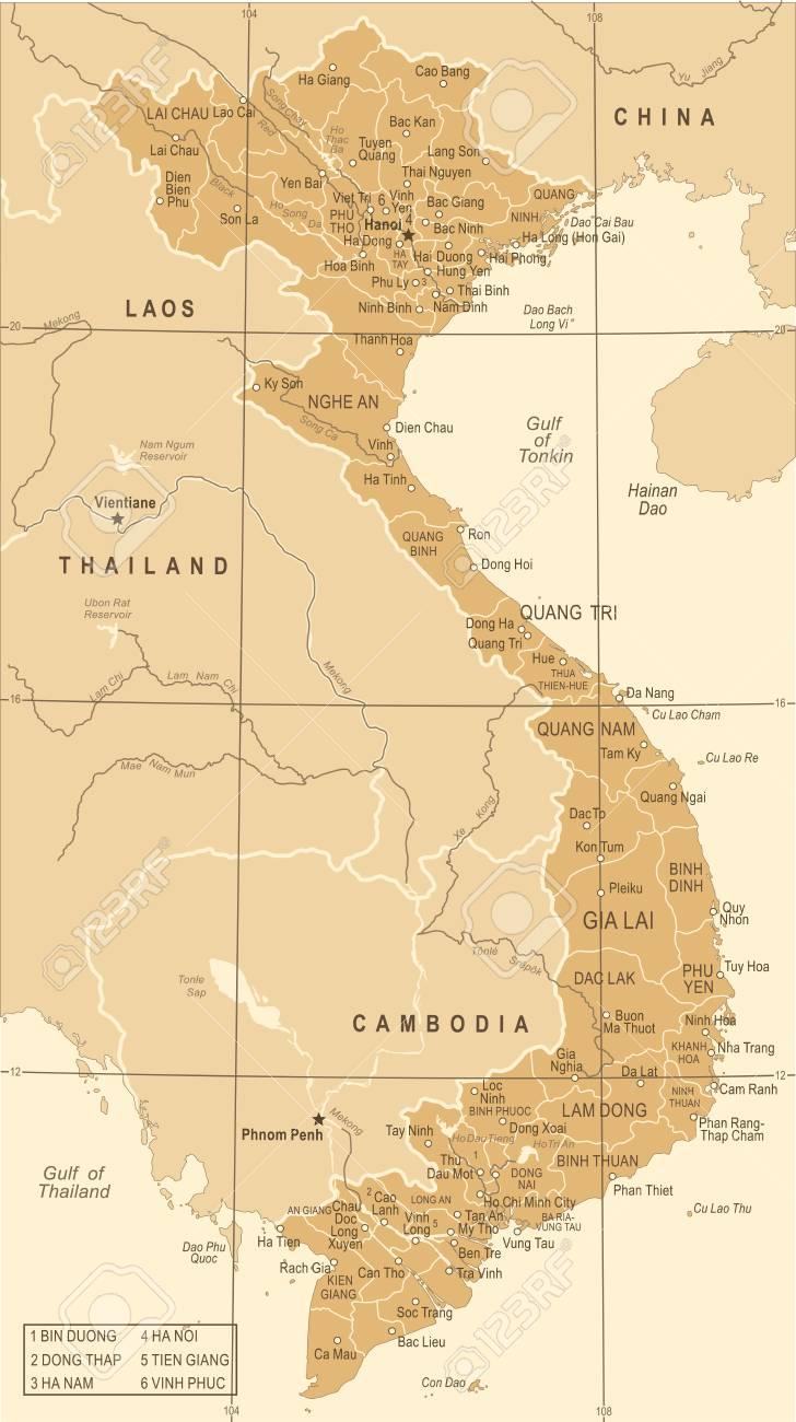 Vietnam Map - Vintage Detailed Vector Illustration Royalty Free ...