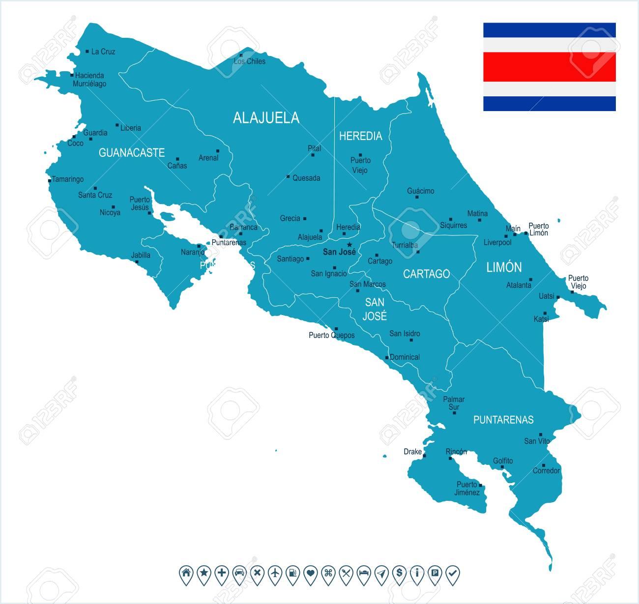 Mapa Y Bandera De Costa Rica - Ilustración Vectorial Detallada Alta  Ilustraciones Vectoriales, Clip Art Vectorizado Libre De Derechos. Image  89506125.