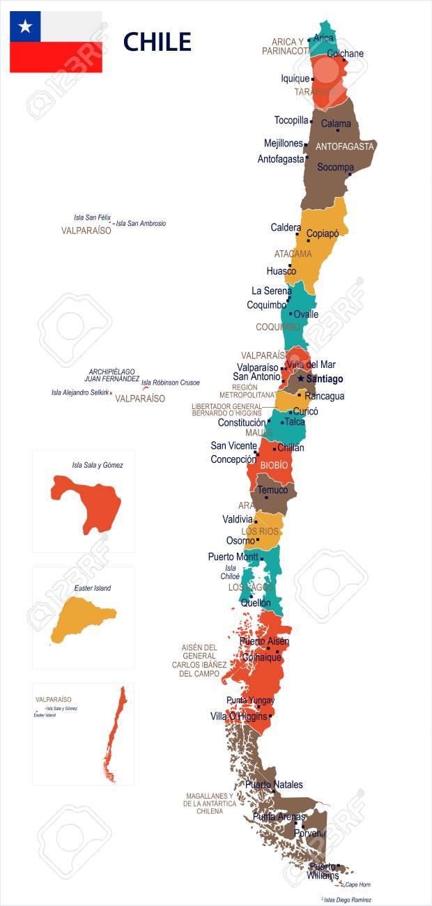 mapa chile Mapa De Chile Y Bandera   Ilustración Vectorial Detallada Alta  mapa chile