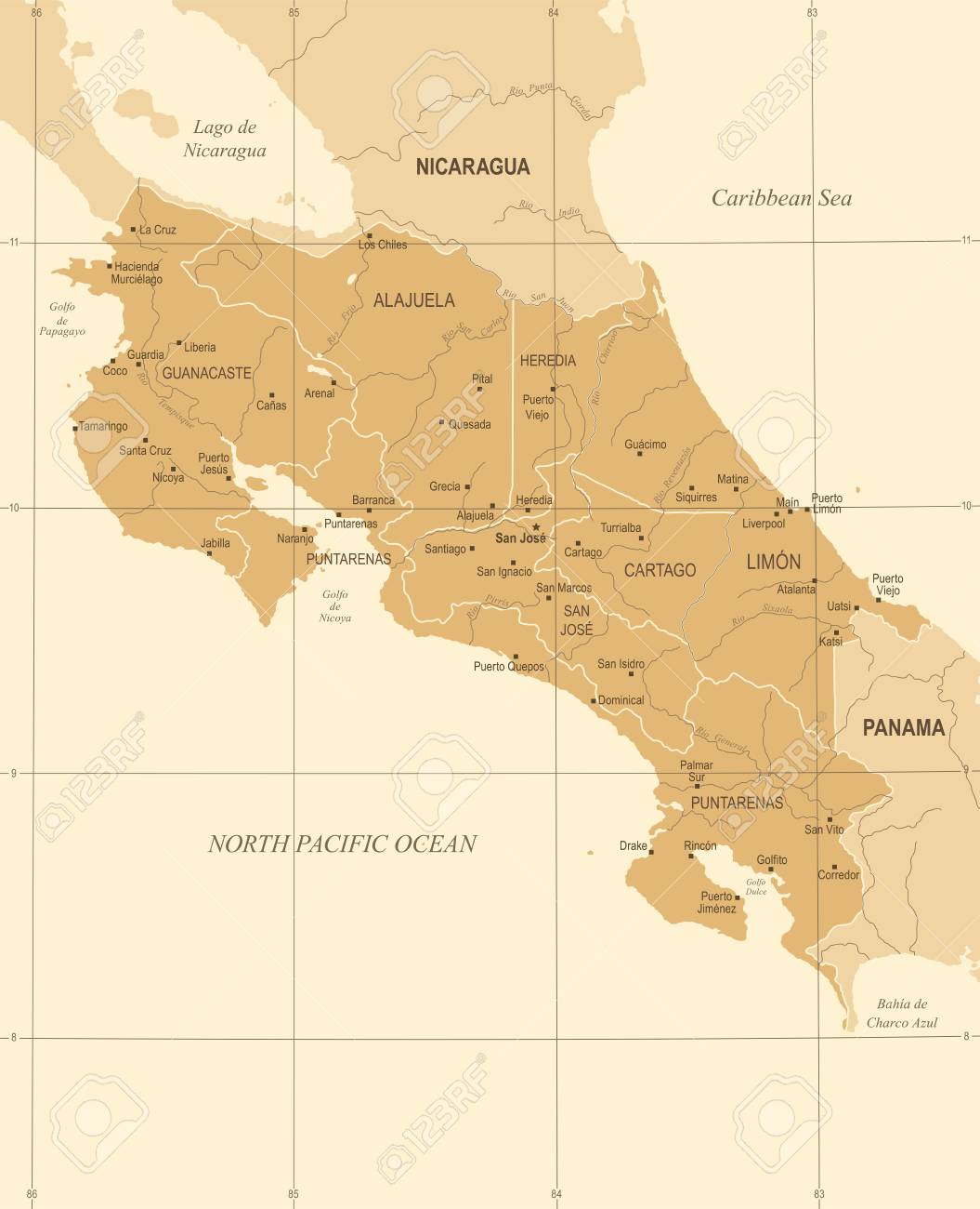 Costa Rica Map - Vintage High Detailed Vector Illustration Royalty ...