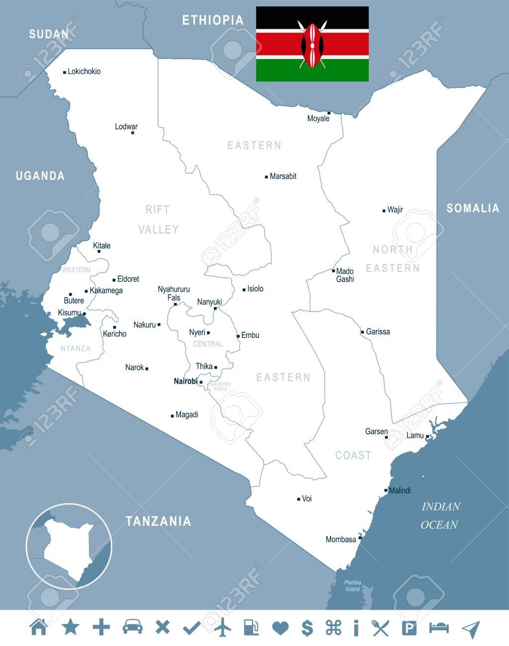 Mapa De Kenia Y Bandera Alta Ilustracion Vectorial Detallada
