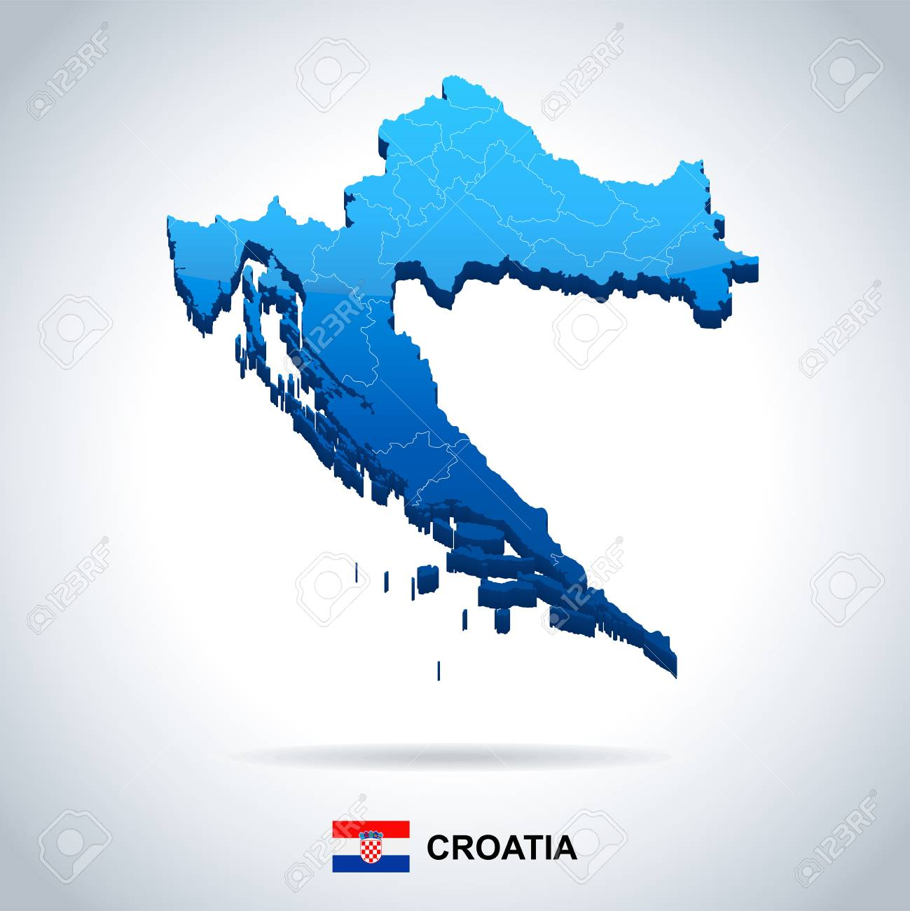 Croatia Map And Flag - High Detailed Vector Illustration Royalty ...