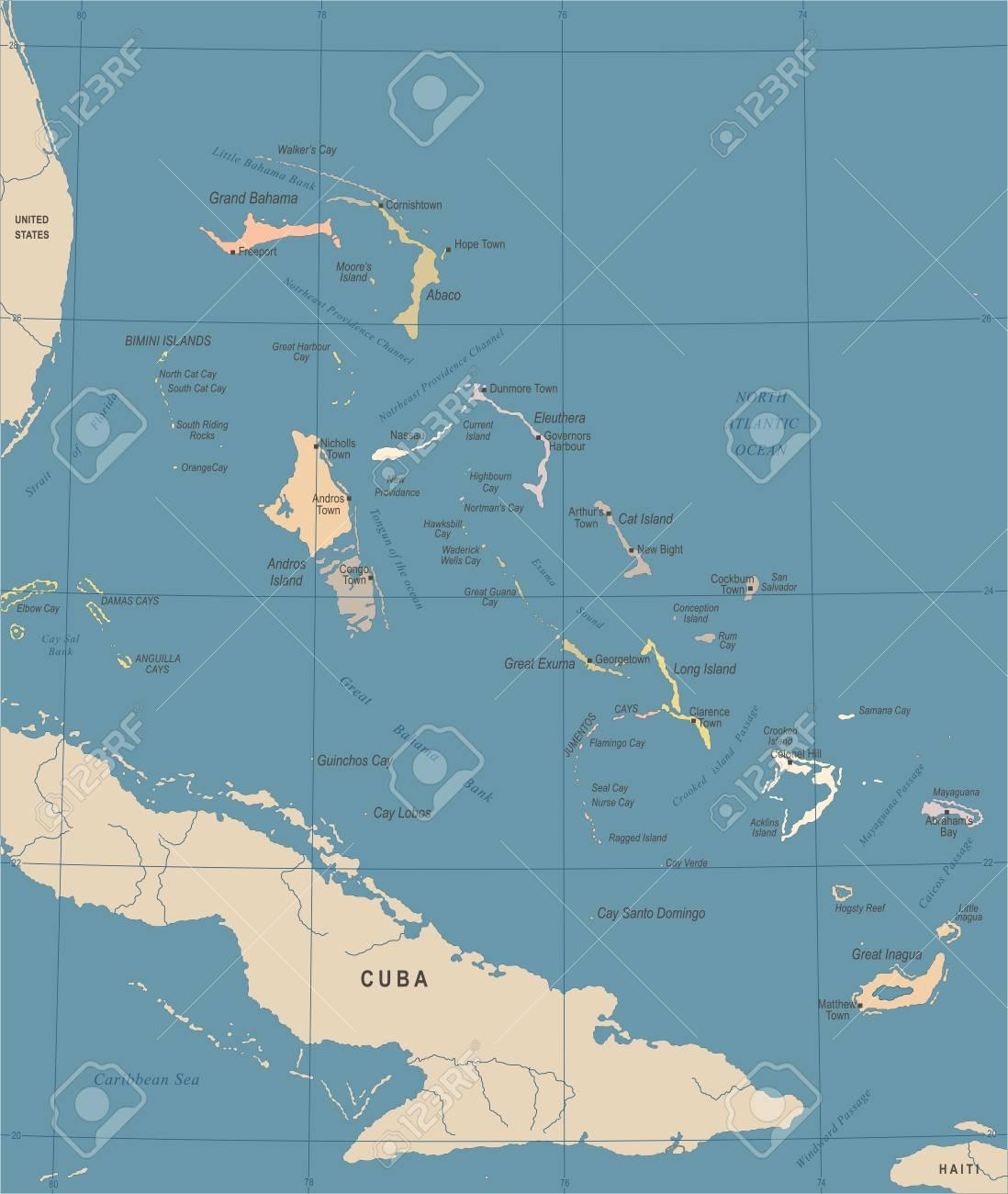 The Bahamas Map - Vintage High Detailed Vector Illustration Royalty ...