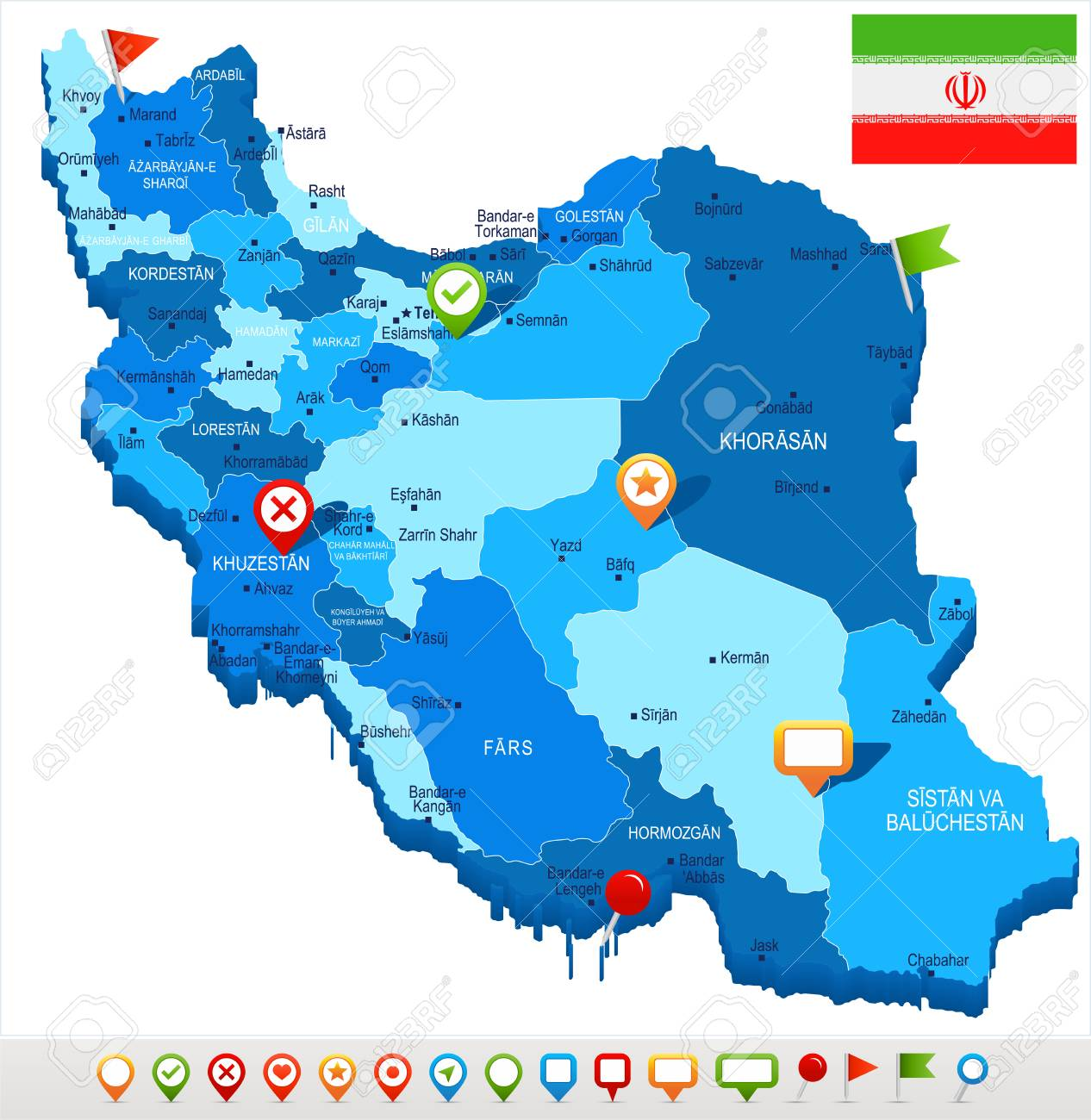 Iran Map And Flag High Detailed Vector Illustration Royalty Free