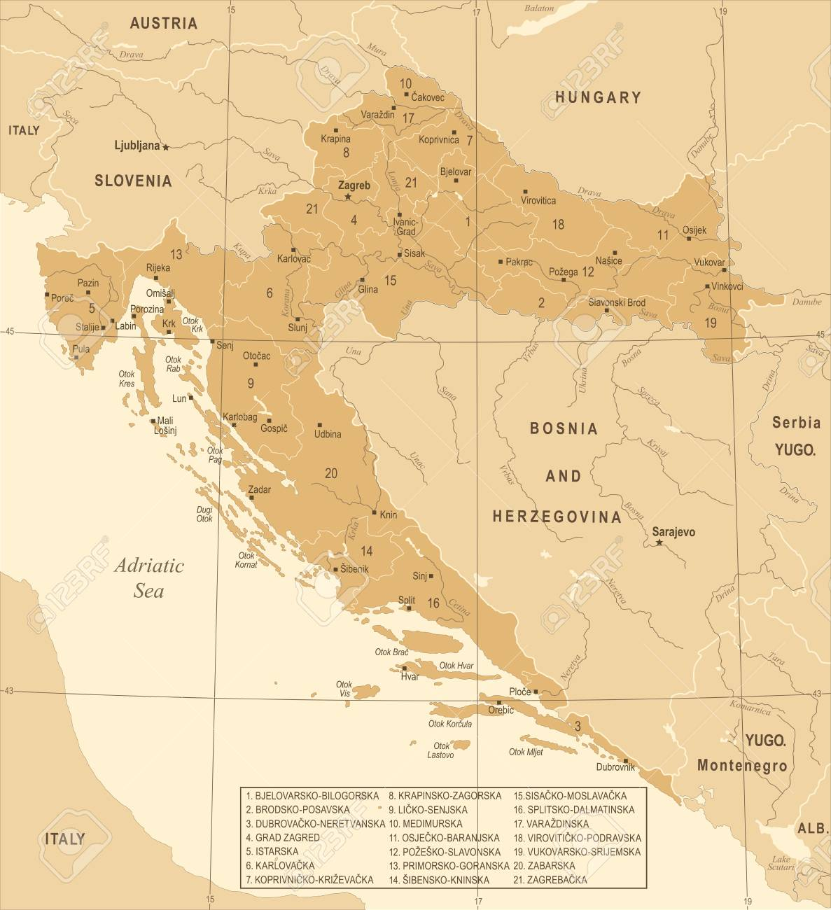 Croatia Map - Vintage High Detailed Vector Illustration Royalty Free ...