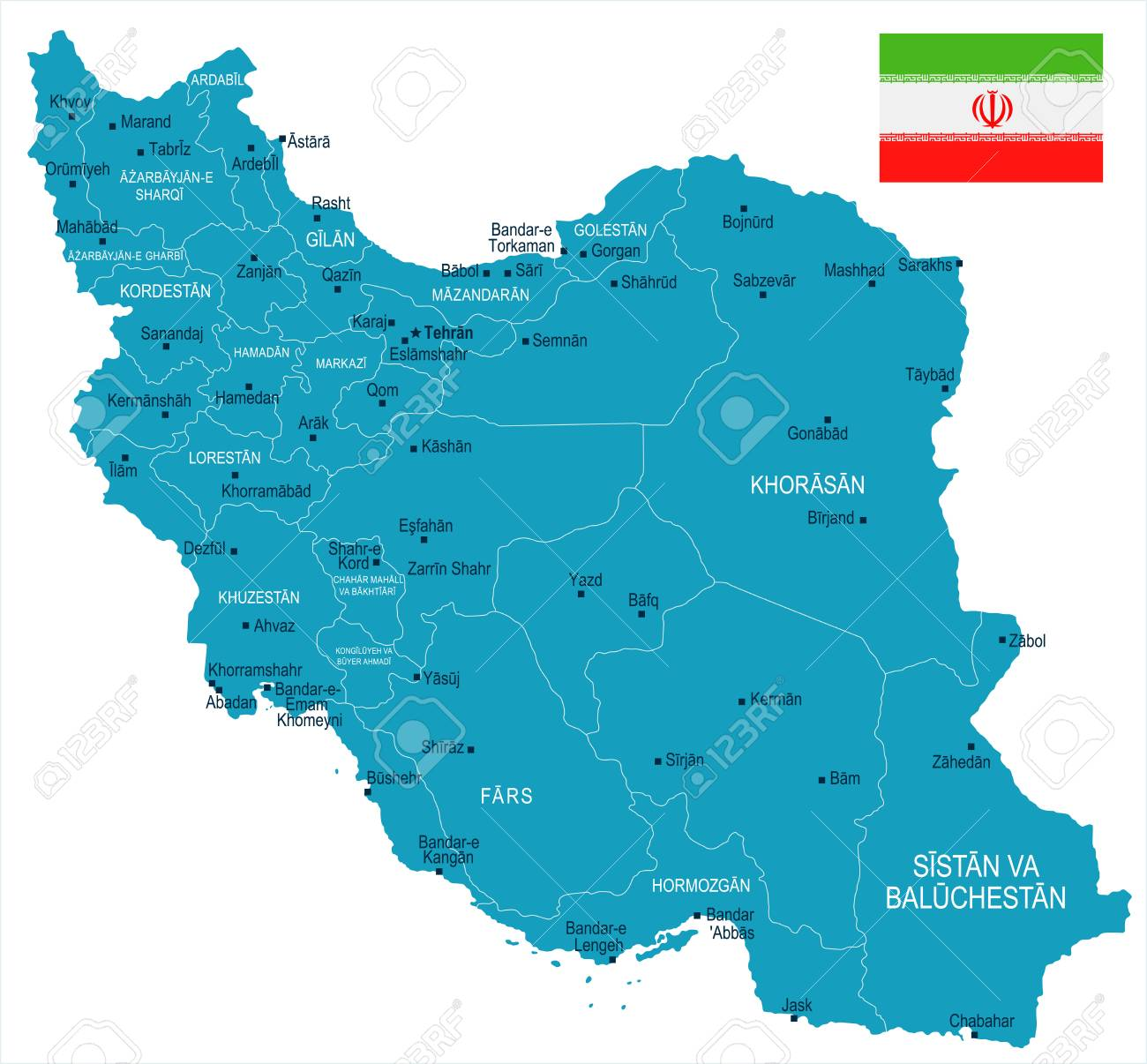 iran map and flag high detailed vector illustration stock vector 90908058