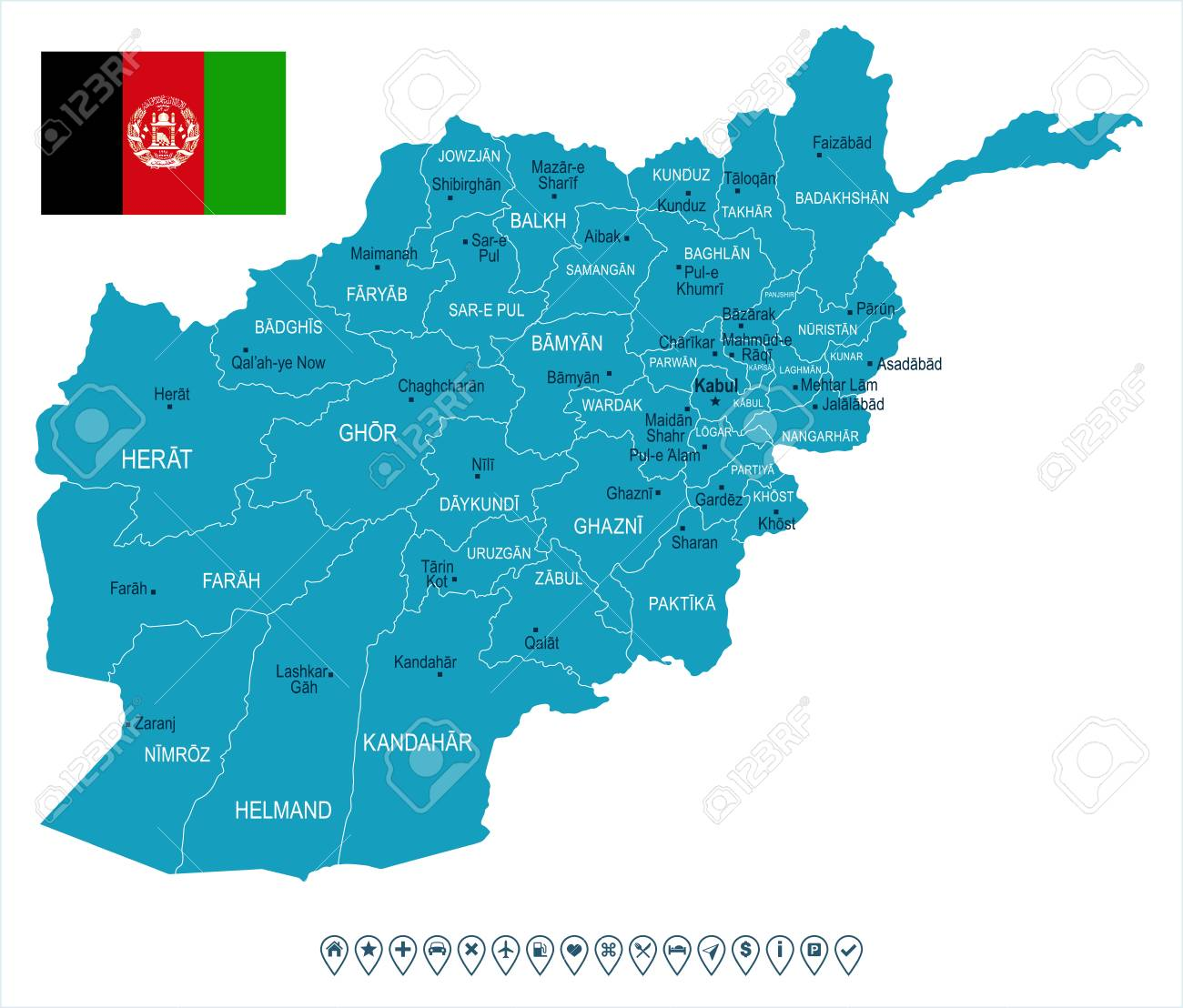 Afghanistan Map And Flag High Detailed Vector Illustration Royalty