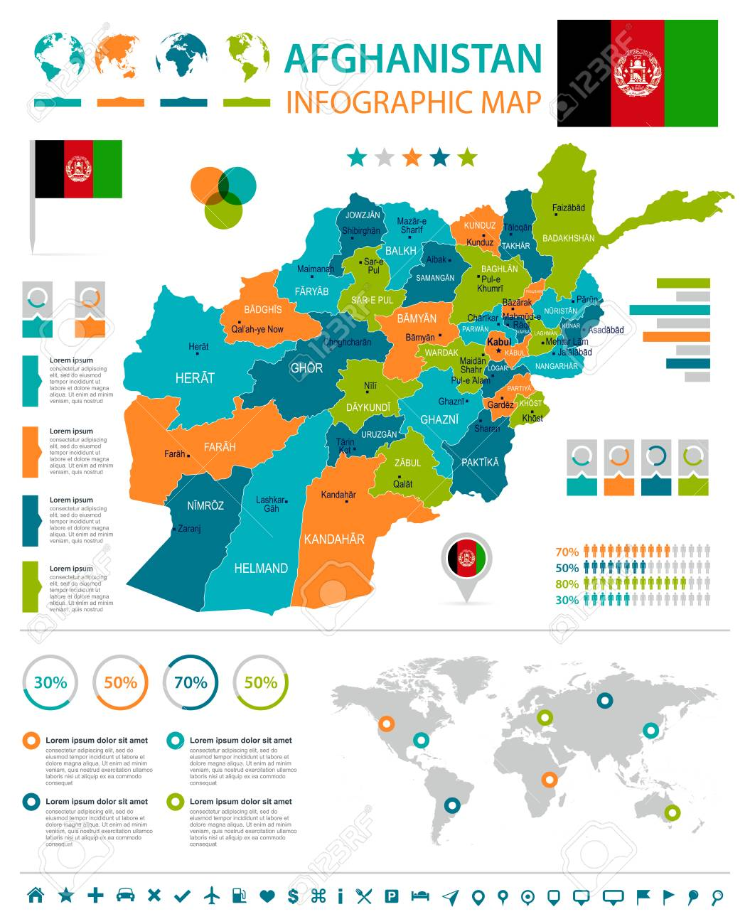 Afghanistan infographic map and flag high detailed vector afghanistan infographic map and flag high detailed vector illustration stock vector 91244425 gumiabroncs Images