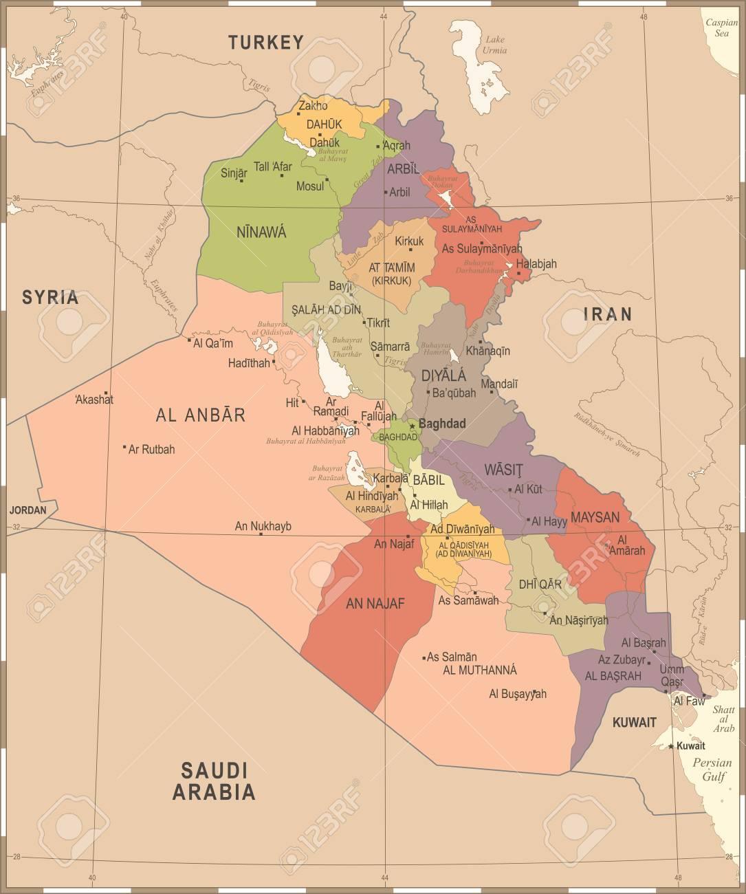 Iraq Map - Vintage High Detailed Vector Illustration