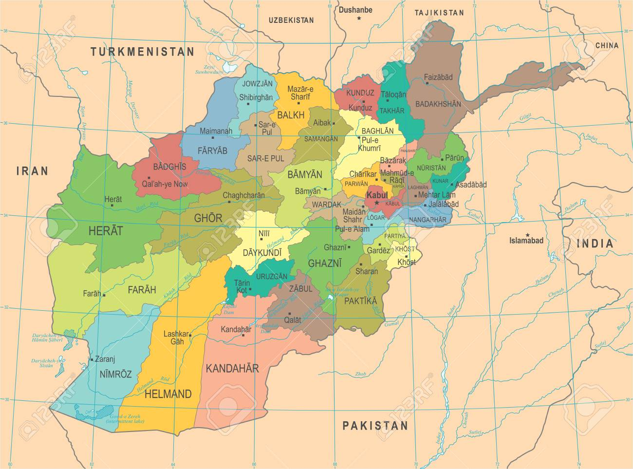 Afghanistan Map - High Detailed Vector Illustration Royalty Free ...