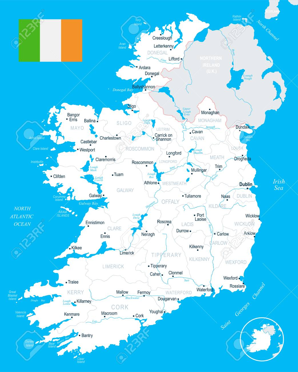 Ireland Map And Flag High Detailed Vector Illustration Royalty