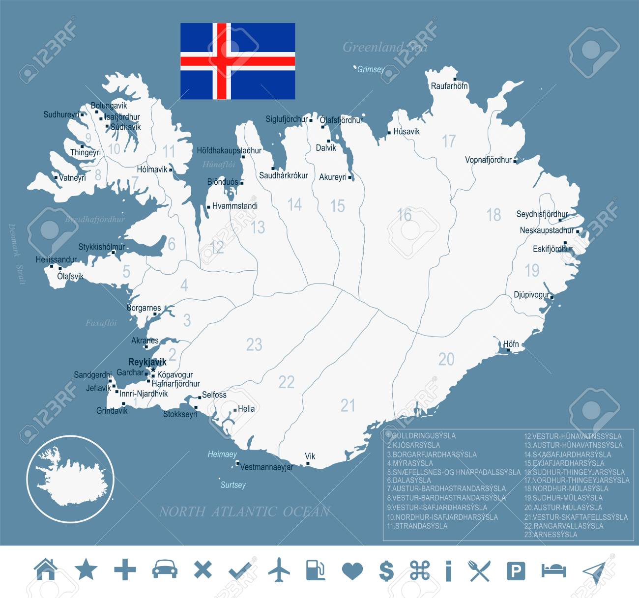 Iceland Map And Flag - High Detailed Vector Illustration Royalty ...