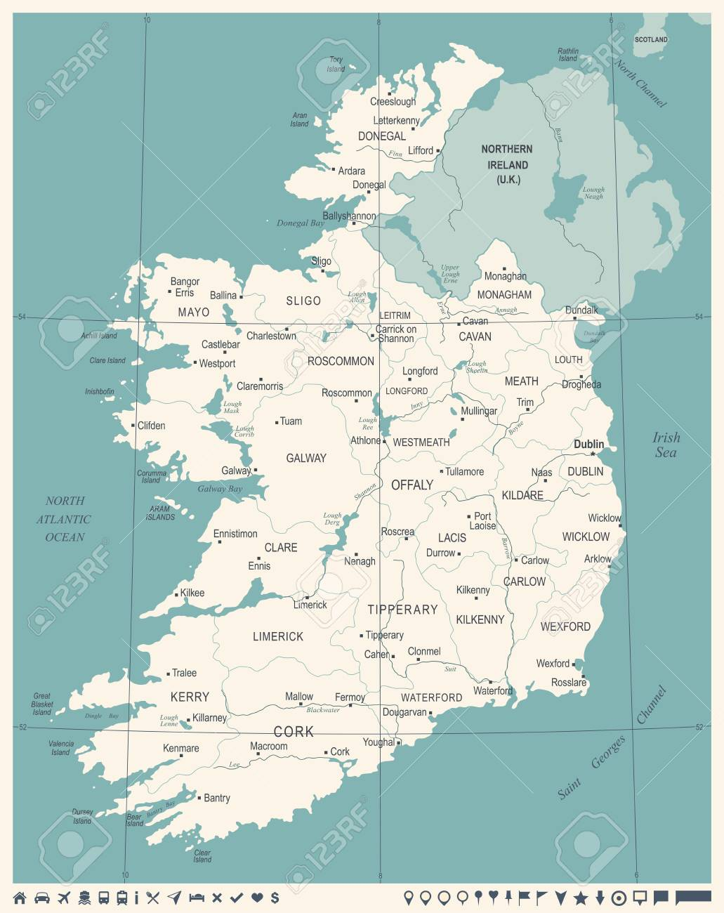 Westmeath Ireland Map.Ireland Map Vintage High Detailed Vector Illustration Royalty Free
