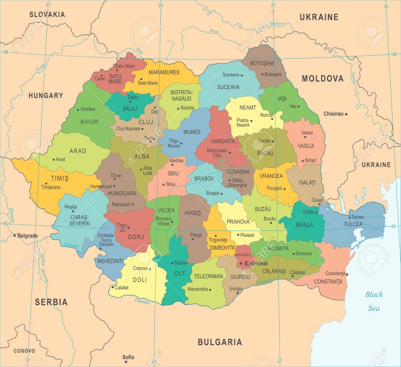 Rumanien Karte Hohe Detaillierte Vektor Illustration Lizenzfrei