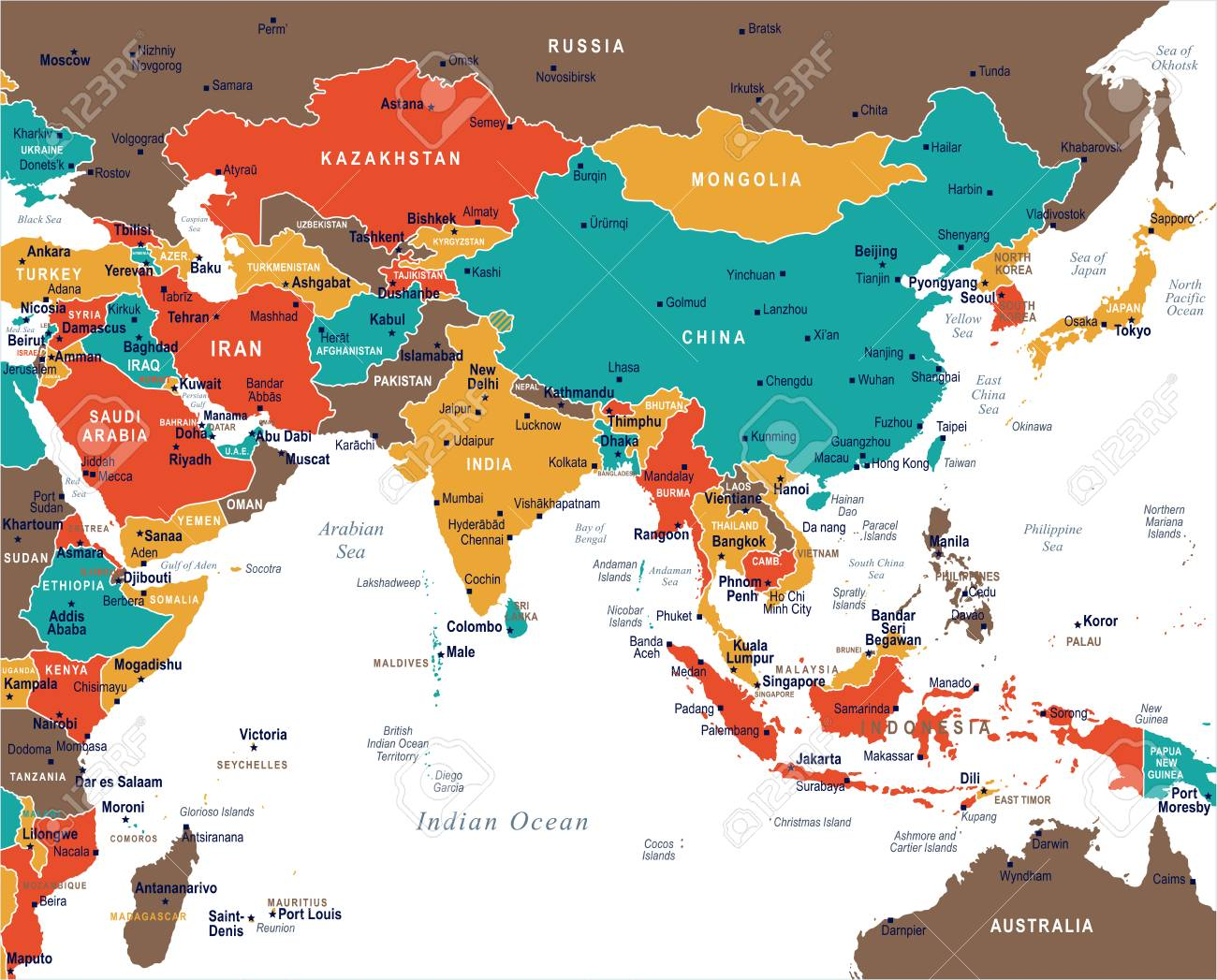 Southern Asia Map - Detailed Vector Illustration Royalty Free ...