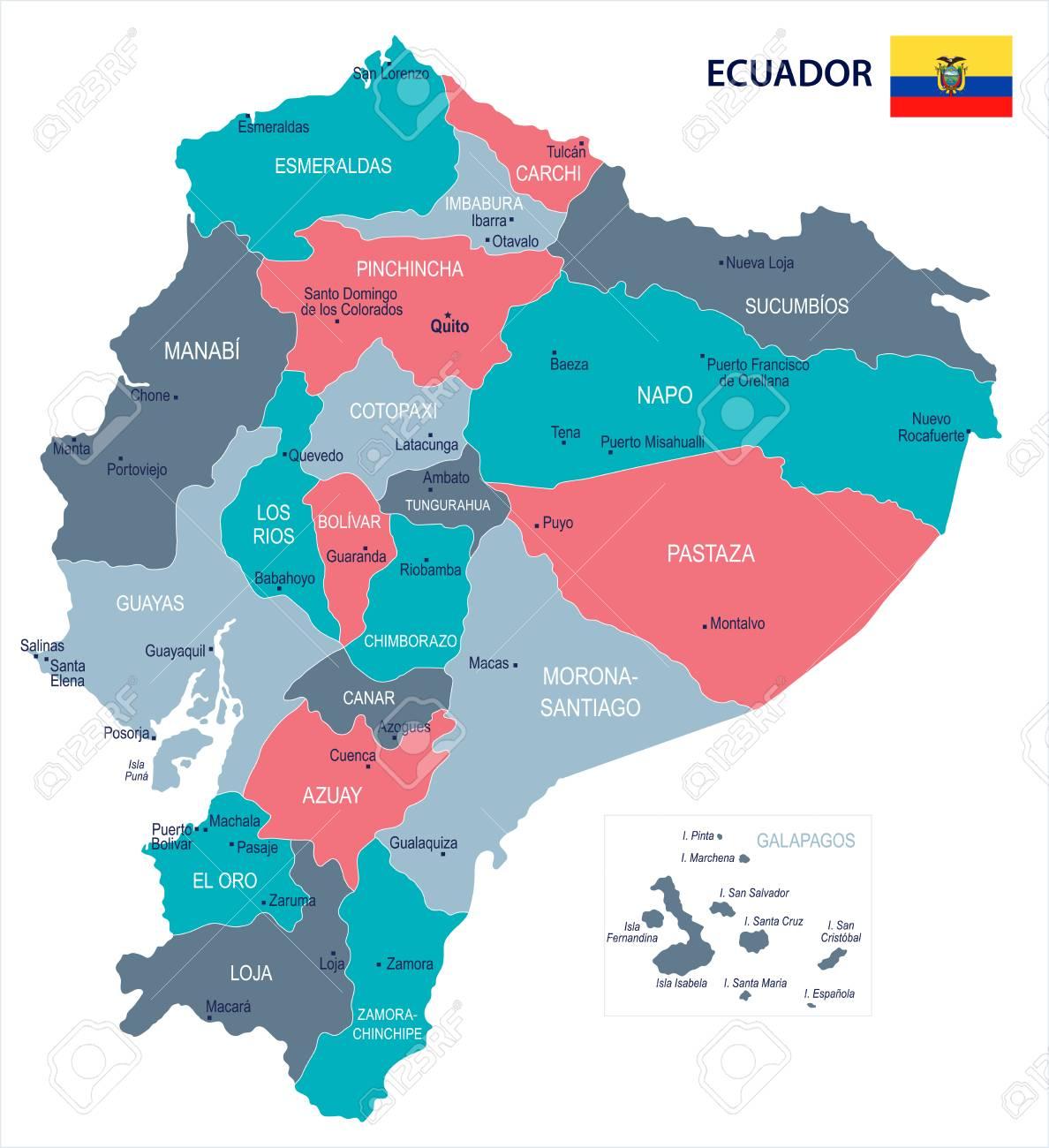 Ecuador map and flag - High Detailed Vector Illustration - 93004839