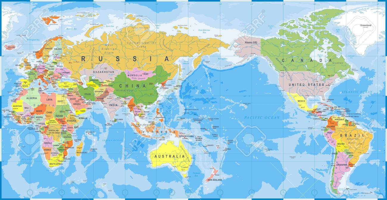 World Map Outline Contour Silhouette Asia In Center Vector - World-map-with-us-in-center
