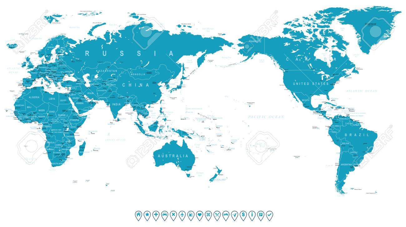 World Map Outline Contour Silhouette - Asia In Center - Vector ...