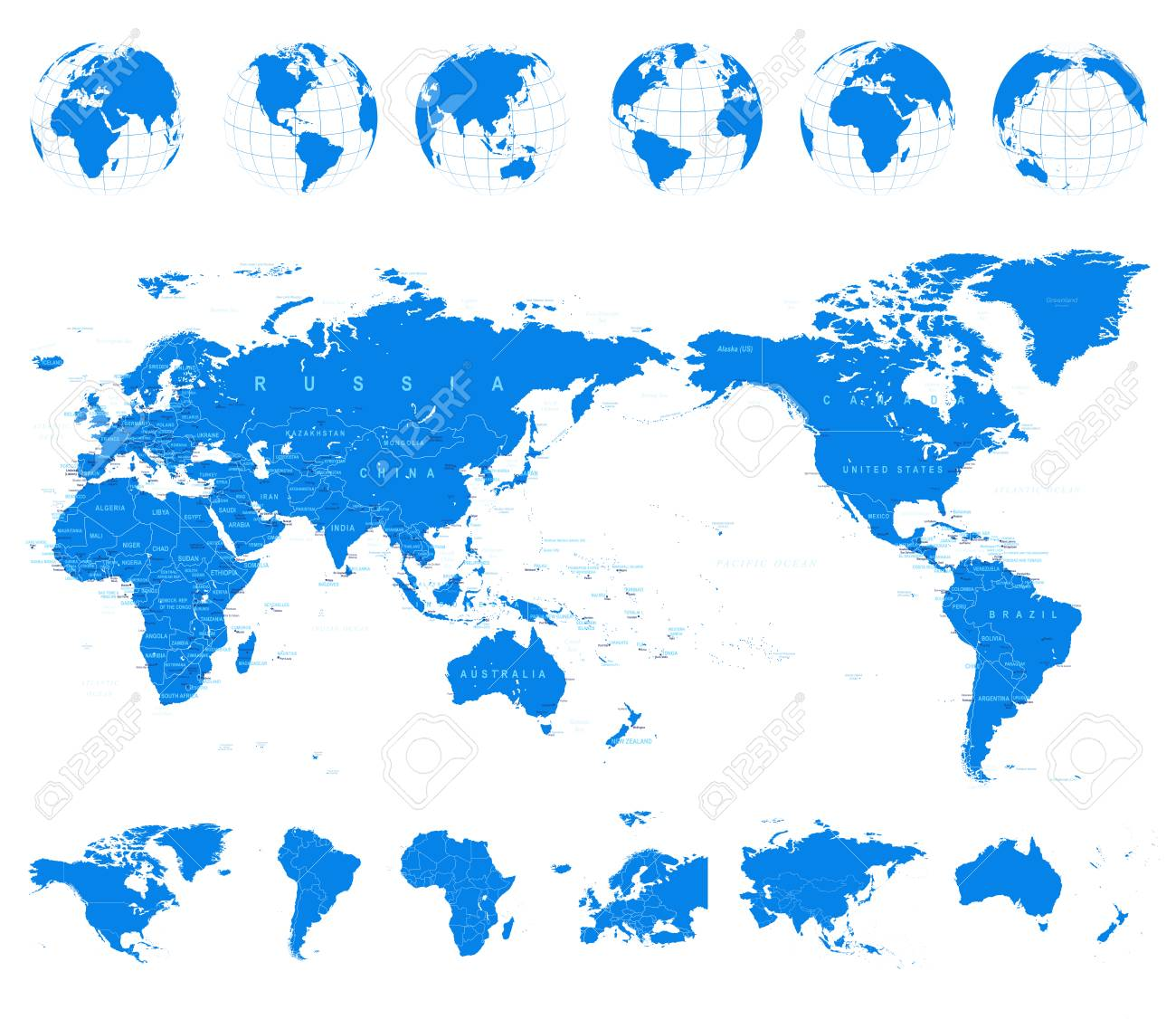 World Map Blue And Globes Asia In Center Vector Royalty Free - World-map-with-us-in-center