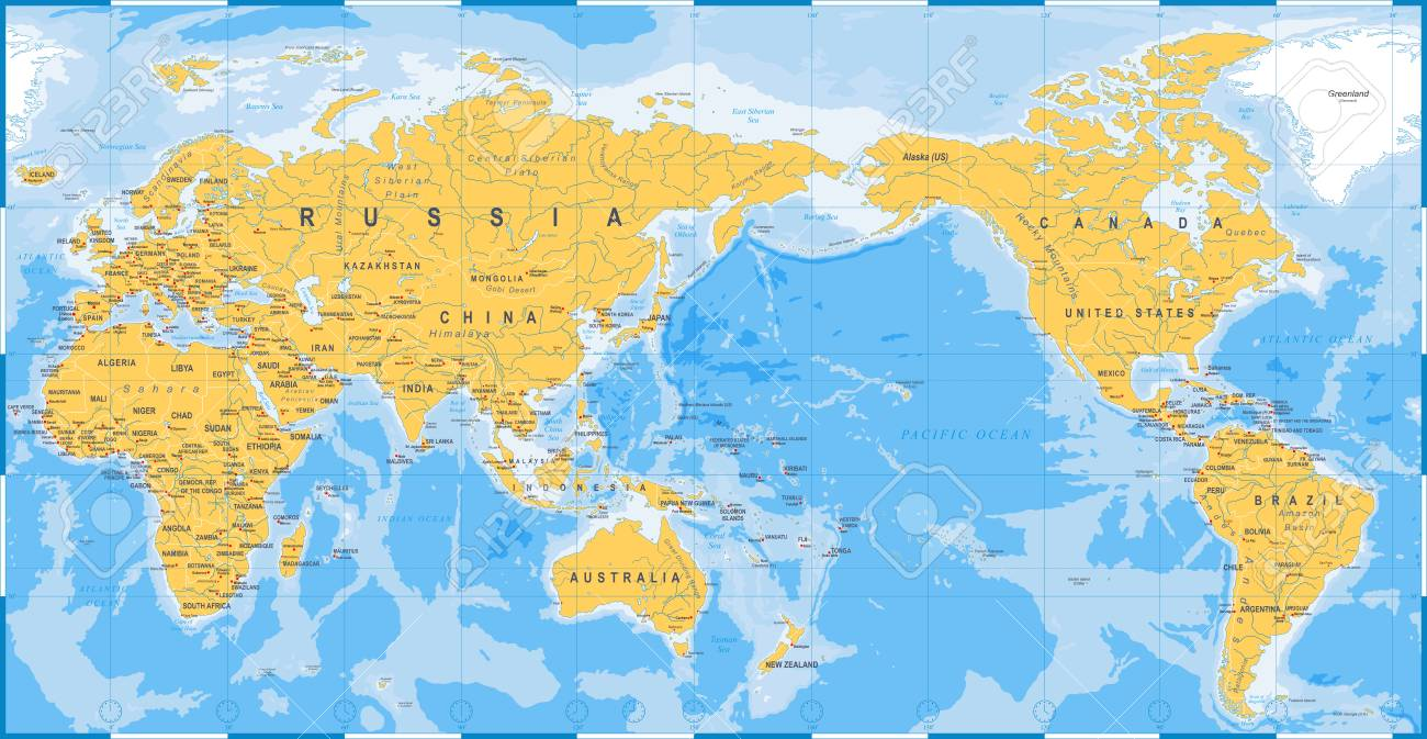 World Map Yellow Blue Asia In Center Vector Royalty Free Cliparts - World-map-with-us-in-center